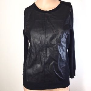Faux Leather Panel Banana Republic Sweater